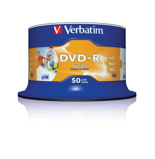 Verbatim 43533 DVD-R 4.7GB 16x Printable 50 Pack Spindle BULK