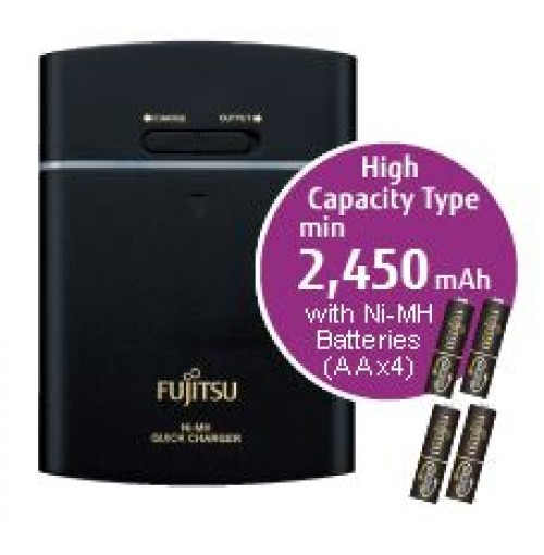 Fujitsu 2550mAh (min.2450mAh) Ni-MH 4pcs AA Rechargeable Battery with Portable Smart Charger Pack
