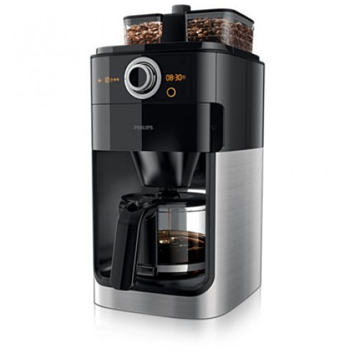 Philips Grind & Brew Coffee maker HD7762/00 With glass jug Integrated coffee grinder Black & metal