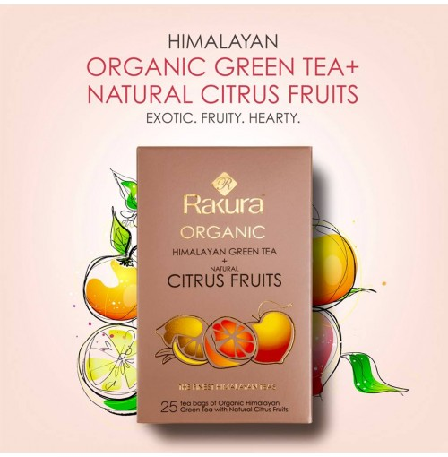 RAKURA HIMALAYAN ORGANIC GREEN TEA + NATURAL CITRUS FRUITS
