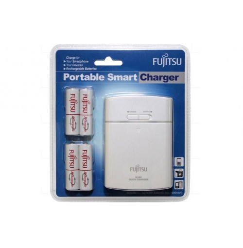 Fujitsu AA/AAA Ni-MH Battery Charger Kit with 4 Pack AA 2000mAh Rechargeable Batteries